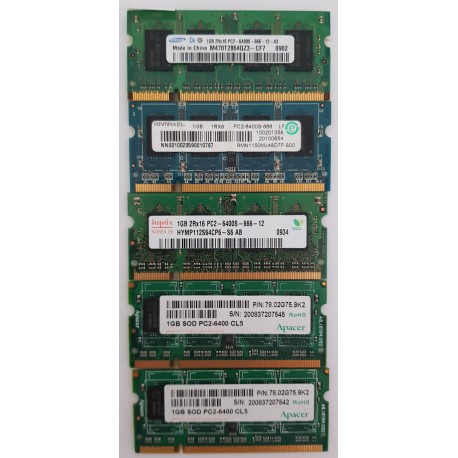 1GB DDR2 SO-DIMM PC2-6400 Mixed